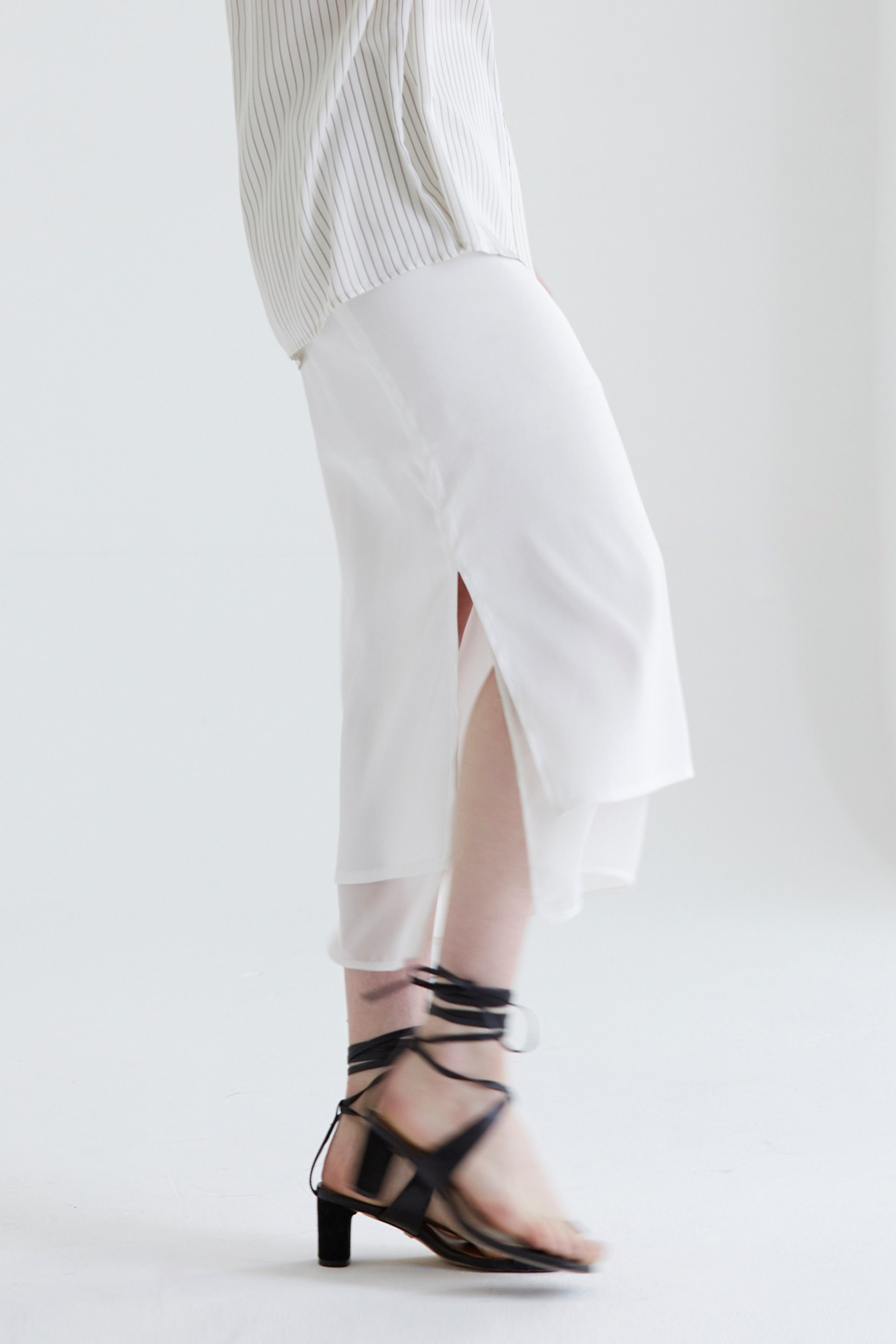 anthese silky layered skirt, white (30% discount)