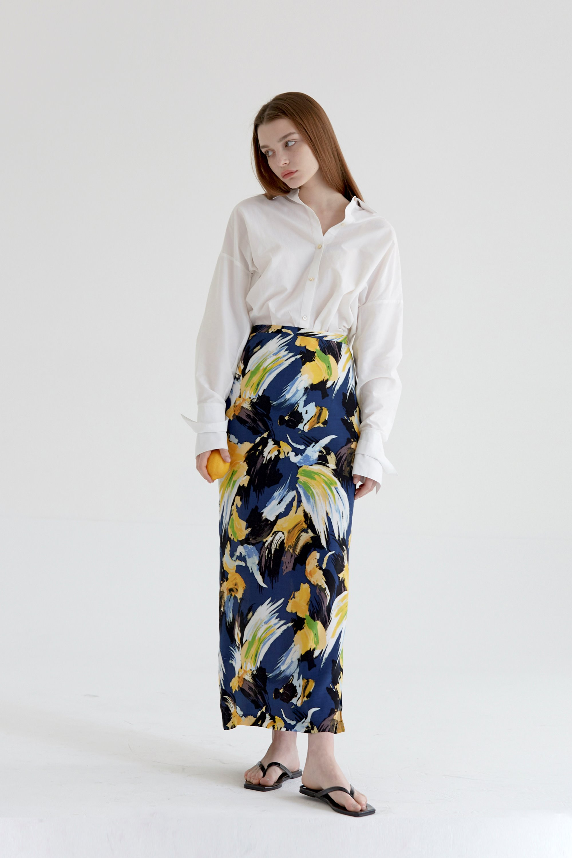 anthese fall in pattern skirt, navy (40%)