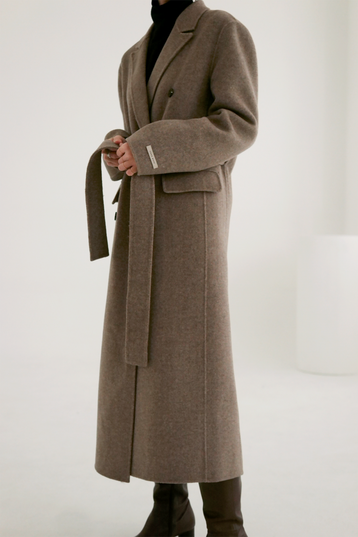 anthese vello double long coat, oatmeal brown