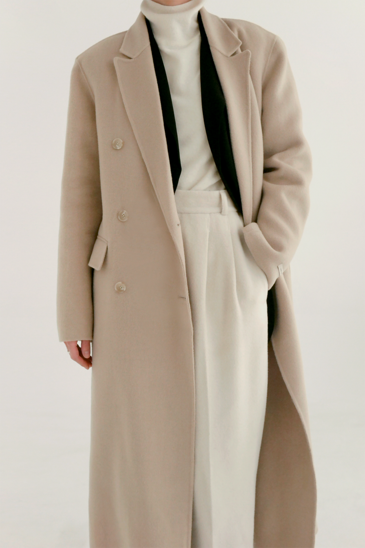 anthese vello double long coat, ivory (20%)
