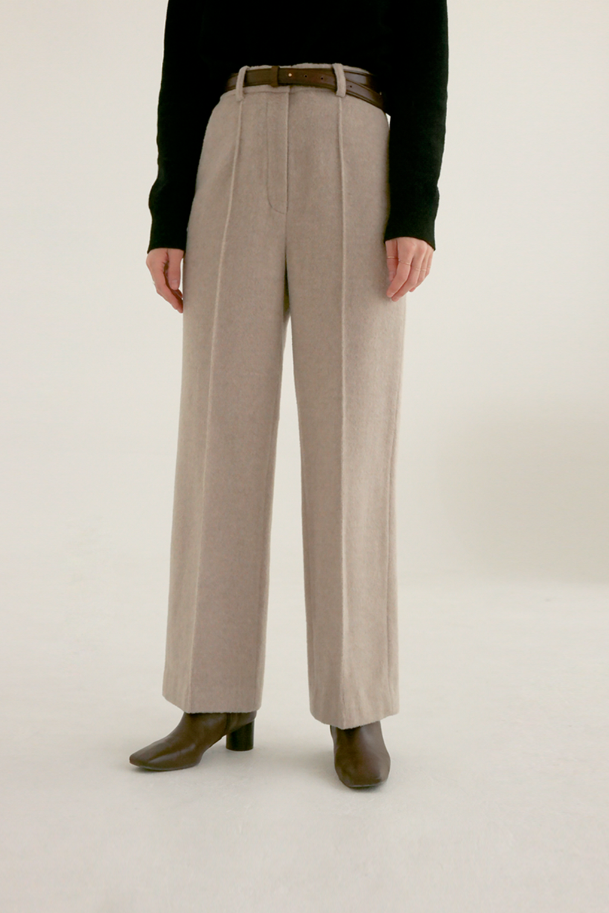 anthese line basic wool slacks, oatmeal