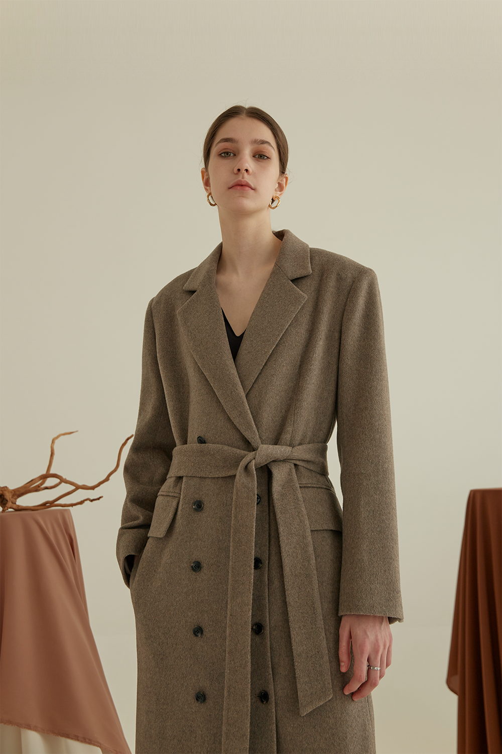 anthese vrite long coat, oatmeal brown (30%)