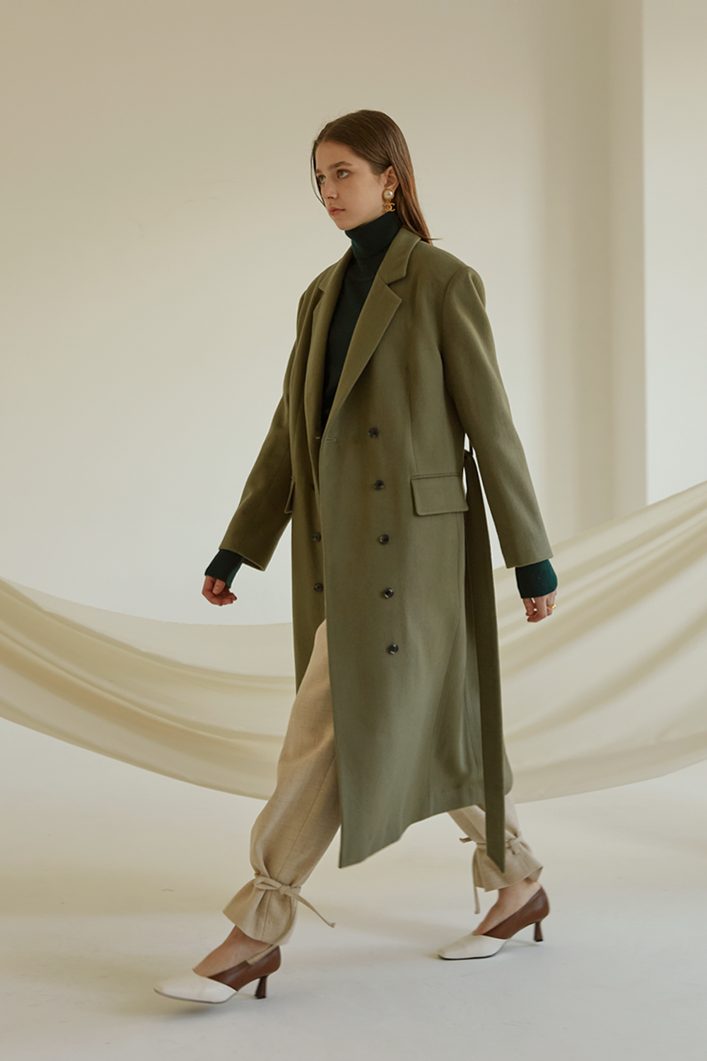 anthese vrite long coat, soft khaki (40%)