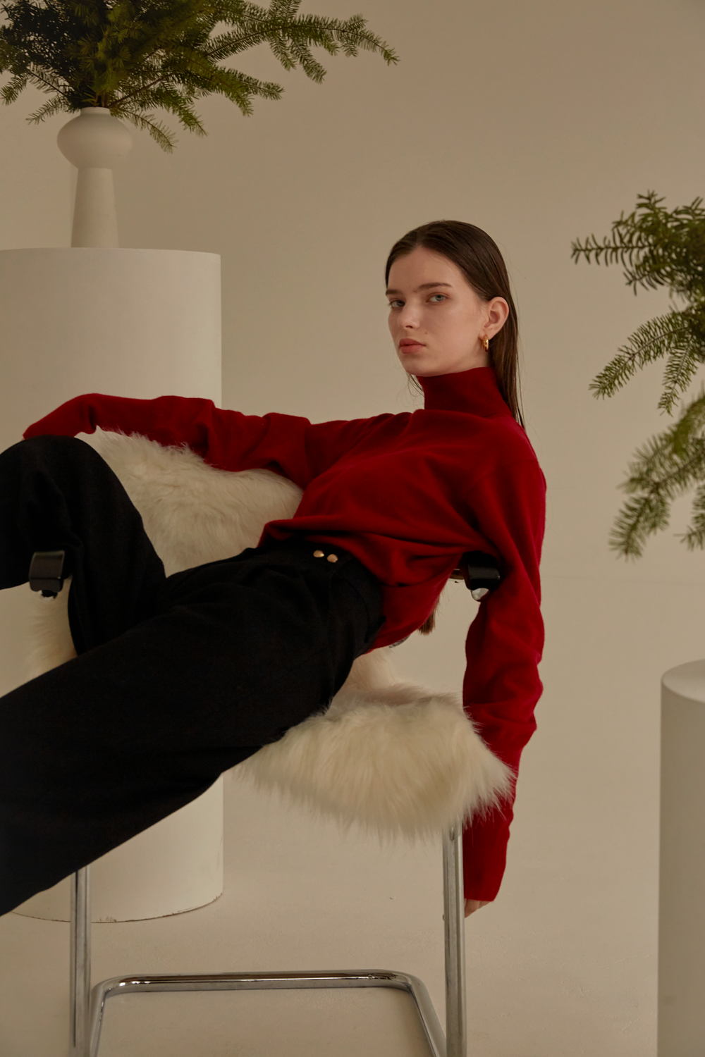 anthese Luz Turtleneck, deep red