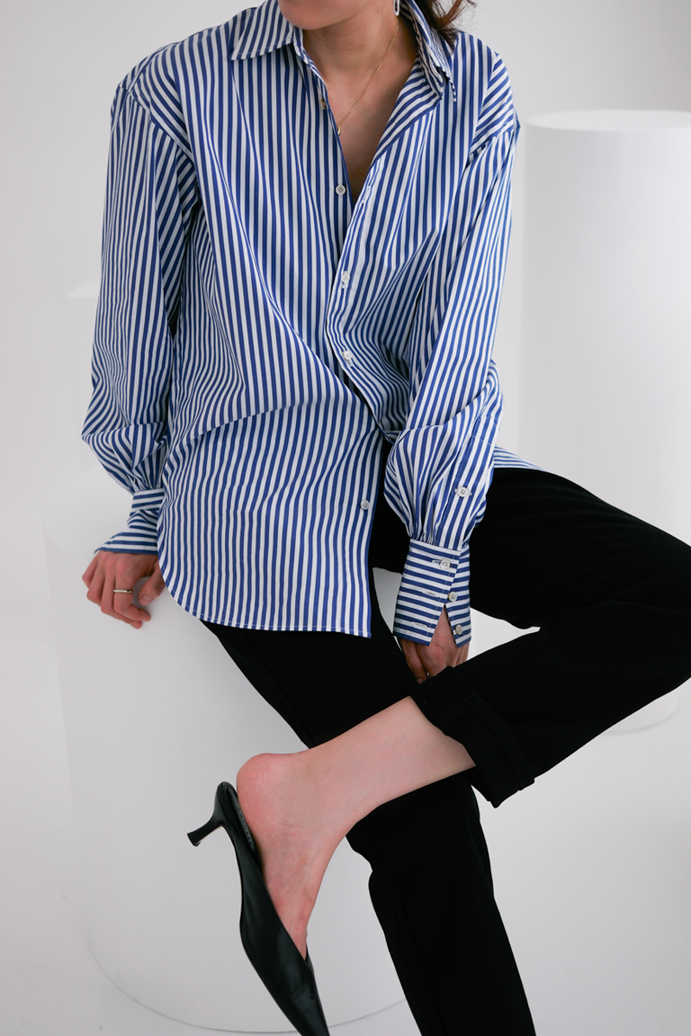 anthese stripe shirring shirts, blue